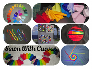 Sewn with curves logo and example quilts
