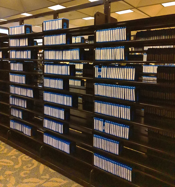 Shelving units containing the Talking Books collection